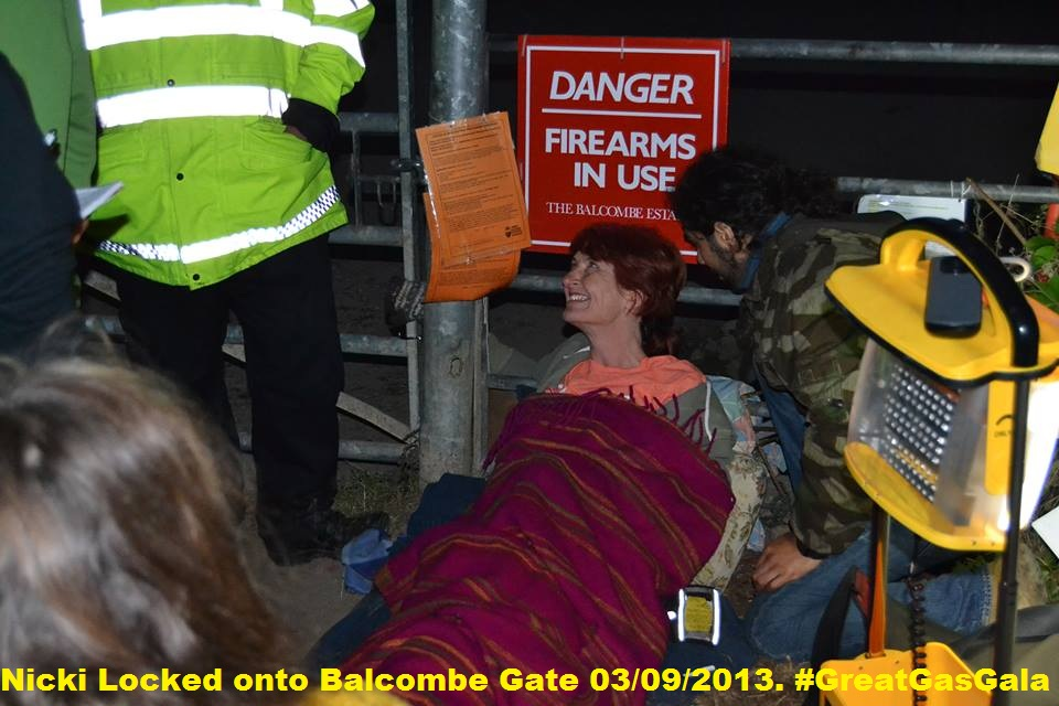 Nicky locked onto Balcombe gate. Photo by Sherborne Gary.