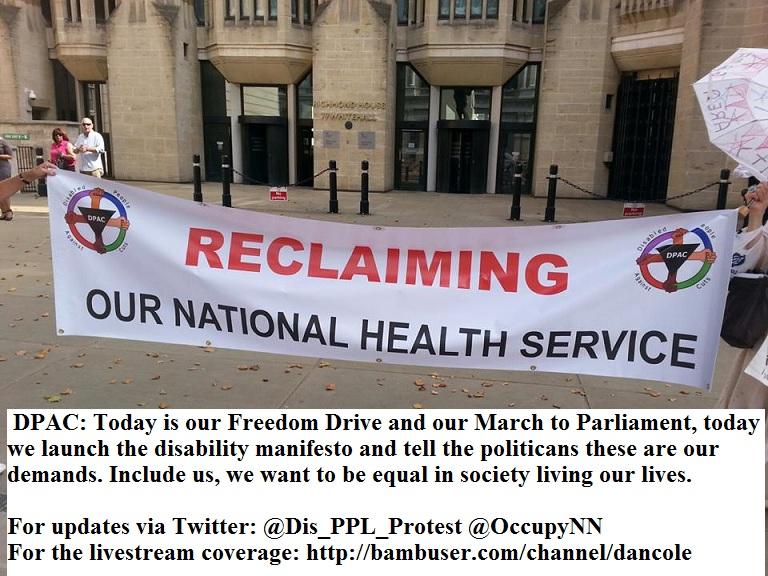 Disabled People Against the Cuts outside Dept. of Work & Pensions, Whitehall.