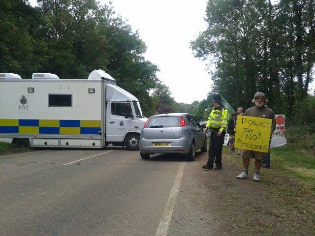 "Police Say ""No To Fracking."" Photo by Paul Spence."