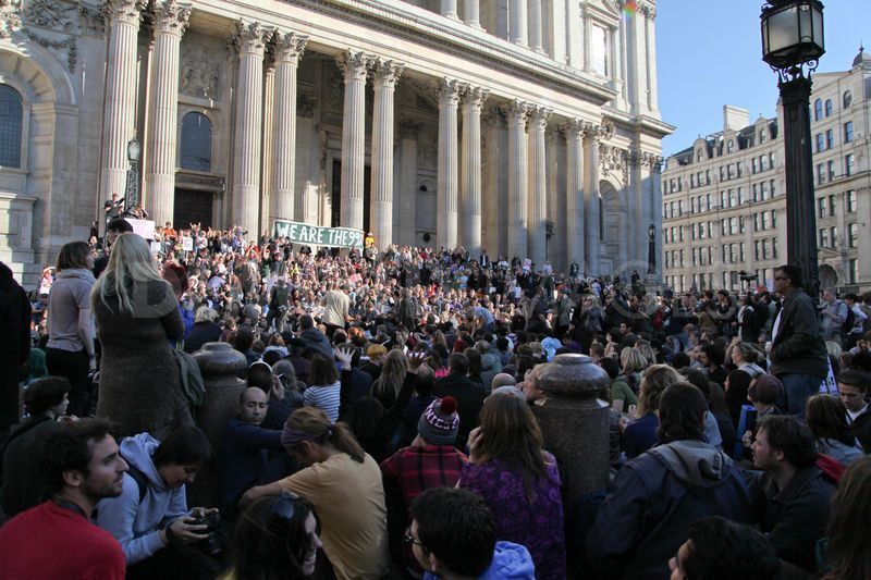 St. Paul's Steps. Occupy the London Stock Exchange.