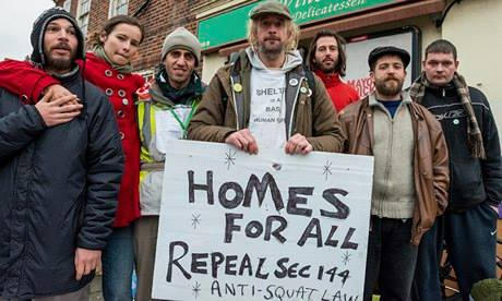 Occupy Barnet Protesting against Section 144 and homelessness.