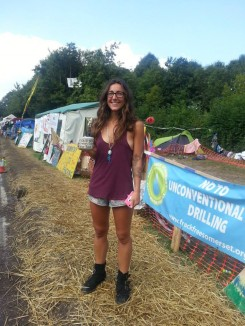 Laura at Balcombe Community Protection Camp.