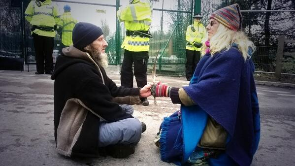 The Druids are meditating by the gates in front of the march. Photo: @BartonMoss