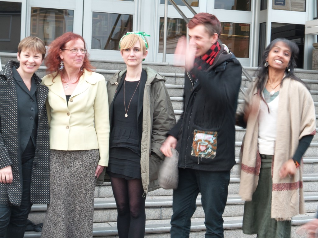 Balcombe defendants outside Brighton Magistrates Court. Photo: Kris O'Donnell