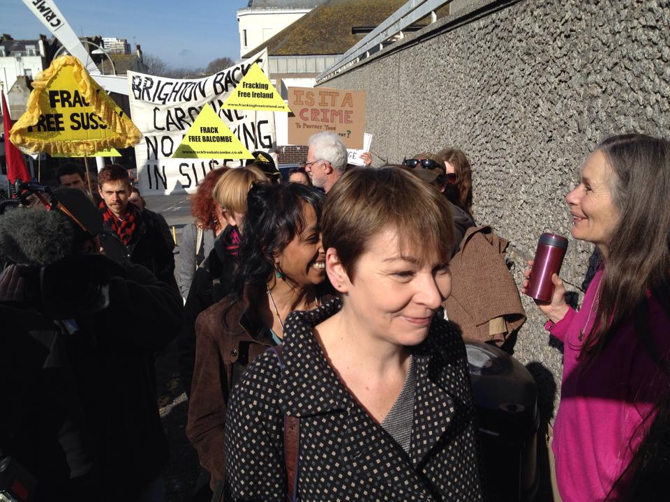 Caroline Lucas, Brighton and Hove MP, outside Brighton Magistrates Court.