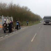 03/04/2014. Action at Bassetlaw Camp Nottinghamshire... Tea party blocks the gate whilst lorry waits.... Check out 'Bassetlaw against fracking' and 'frack free Nottinghamshire'.