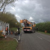 08/04/2014 Daneshill this morning: Crane blocked from entry, one other lorry waits behind