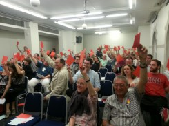 Final vote on whether people would support the TTIP. Blue for Yes. Red for No.