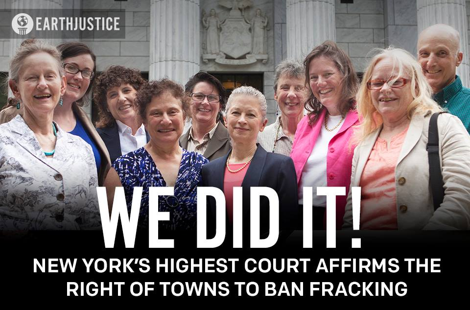 New York's highest court has upheld the right of towns to ban fracking within their borders!