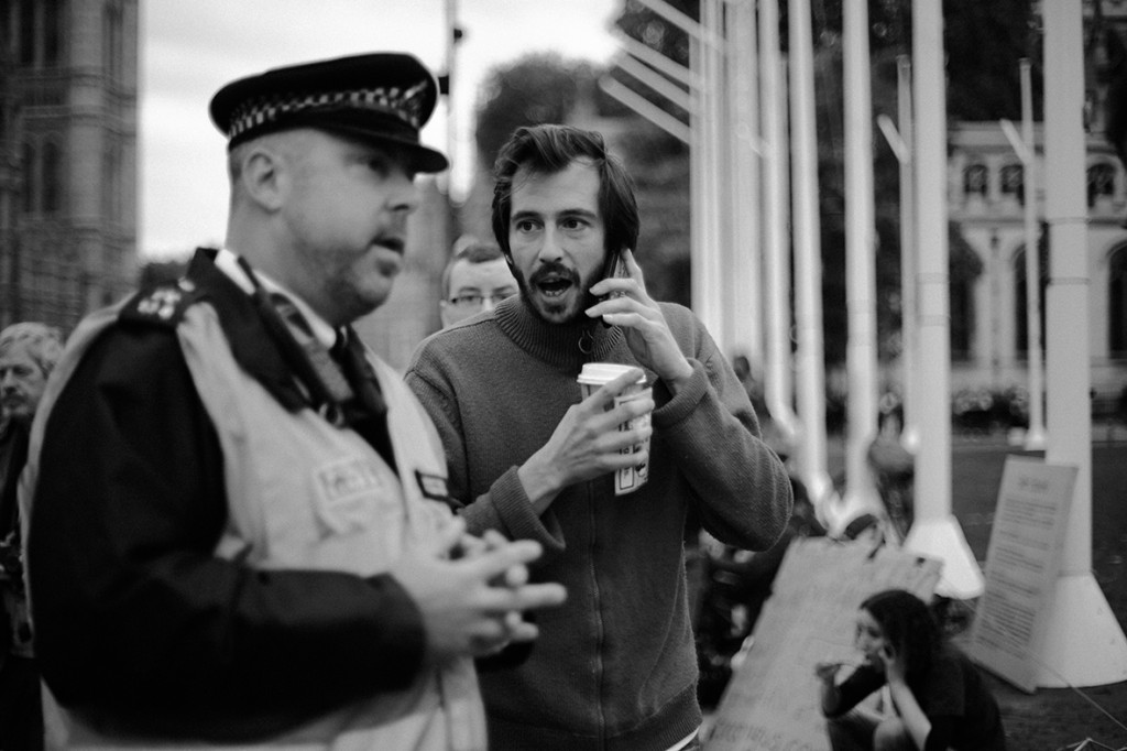 George Barda - Occupy Democracy organizer tries to reason with police.