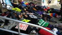 ICAN UK Nobel Peace Prize Die-in @CNDuk @ICAN_UK #OLSX #NuclearBan