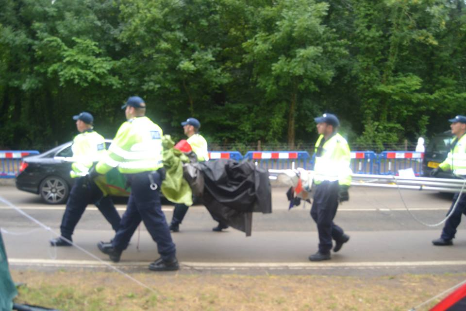 The Police seize the shower for the camp.