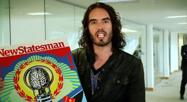 Russell Brand with New Stateman poster
