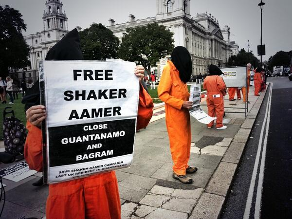 Interesting day of protest campaigns in London today! Free Shaker Aamer held in Guantanamo for years without charge.