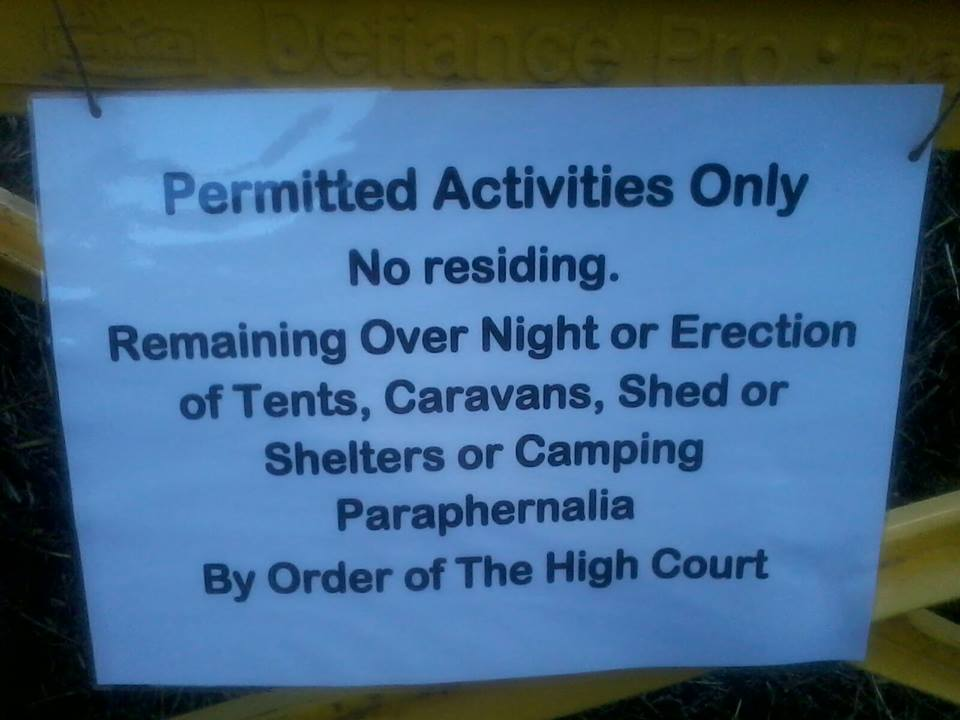 A protest pen has now been set up with the following conditions.