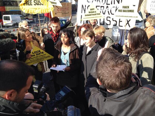 Josef Dobraszczyk, Sheila Menon, Ruth Jarman, Caroline Lucas MP and Ruth Potts, defendants.outside Brighton Magistrates Court. Photo: Ben Cavanna