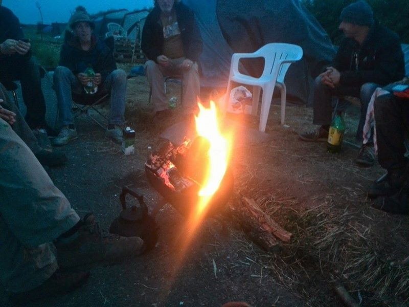 Sat around fire having a laugh at Crawberry Hill Camp...