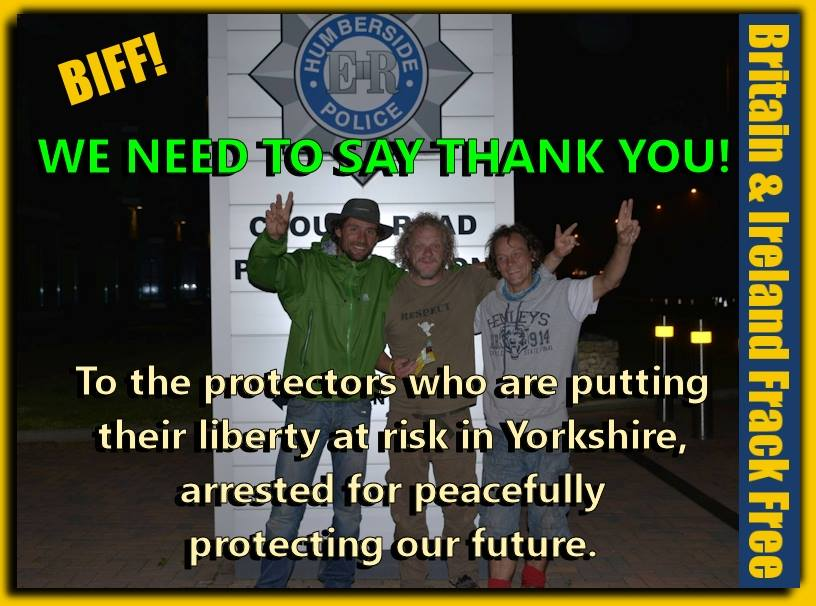 Earth warriors Outside Clough Rd Police station Hull last night after release on trumped up charges