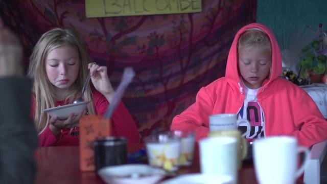 Tina's grandkids having breakfast