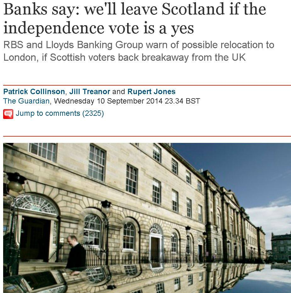 Banks Threaten to Leave Scotland