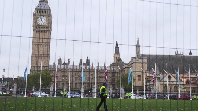 Parliament Square fenced off in an effort to stop protesters gathering.