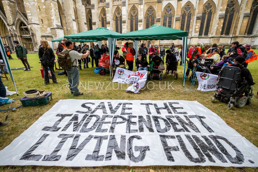 Occupation protest on Westminster Abbey grounds by protesters from Disabled People Against Cuts (DPAC) in London