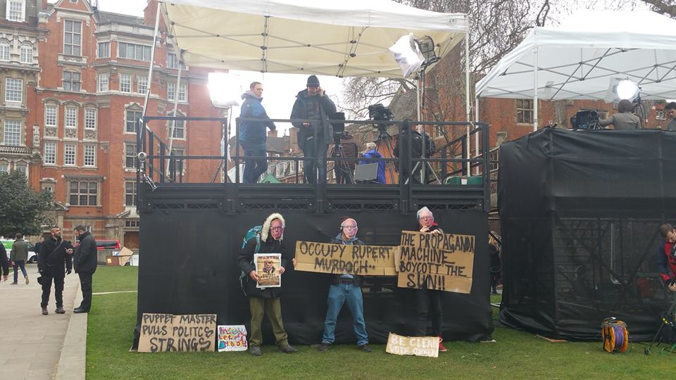 Occupy the Media in College Green.  Photo Credit: Josh Blakely